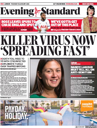 London Evening Standard Newspaper Front Page (UK) for 31 January 2020