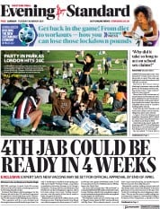London Evening Standard front page for 31 March 2021