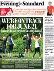 London Evening Standard () Newspaper Front Page for 31 May 2021