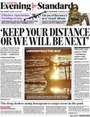London Evening Standard front page for 31 July 2020