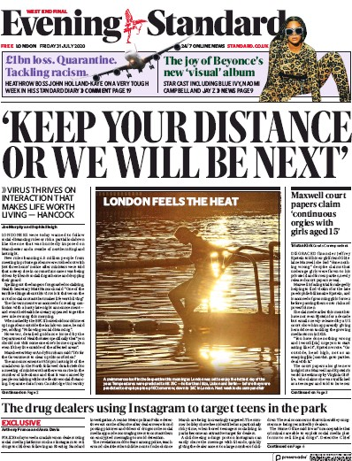 London Evening Standard Newspaper Front Page (UK) for 31 July 2020
