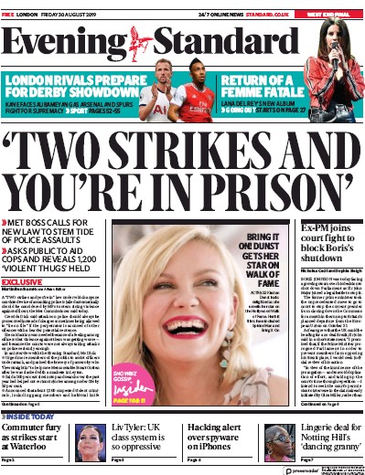 London Evening Standard Newspaper Front Page (UK) for 31 August 2019