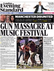 London Evening Standard (UK) Newspaper Front Page for 3 October 2017