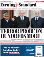 London Evening Standard () Newspaper Front Page for 3 December 2019