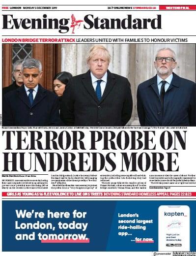London Evening Standard Newspaper Front Page (UK) for 3 December 2019