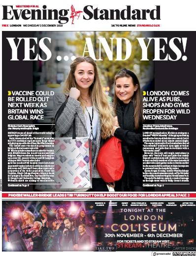 London Evening Standard Newspaper Front Page (UK) for 3 December 2020