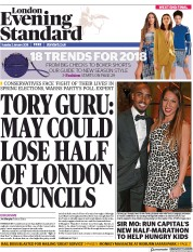 London Evening Standard (UK) Newspaper Front Page for 3 January 2018
