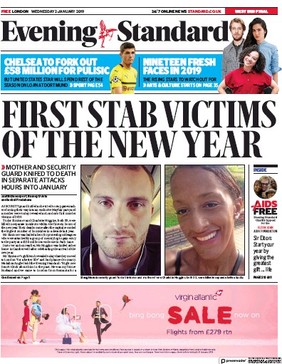 London Evening Standard Newspaper Front Page (UK) for 3 January 2019