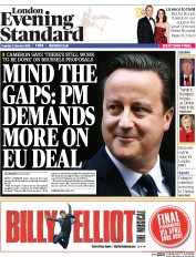 London Evening Standard () Newspaper Front Page for 3 February 2016