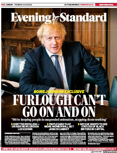 London Evening Standard Newspaper Front Page (UK) for 3 July 2020