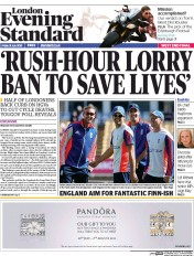 London Evening Standard (UK) Newspaper Front Page for 3 August 2015