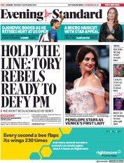 London Evening Standard (UK) Newspaper Front Page for 3 September 2019