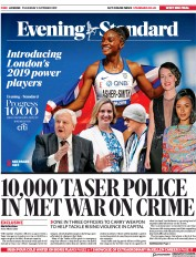 London Evening Standard (UK) Newspaper Front Page for 4 October 2019