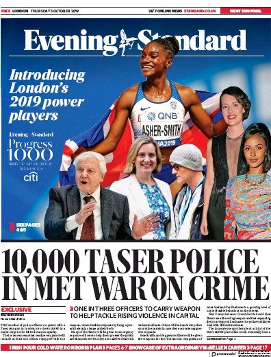 London Evening Standard Newspaper Front Page (UK) for 4 October 2019