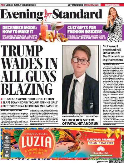 London Evening Standard Newspaper Front Page (UK) for 4 December 2019