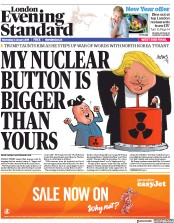 London Evening Standard (UK) Newspaper Front Page for 4 January 2018