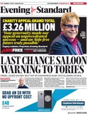 London Evening Standard (UK) Newspaper Front Page for 4 February 2019