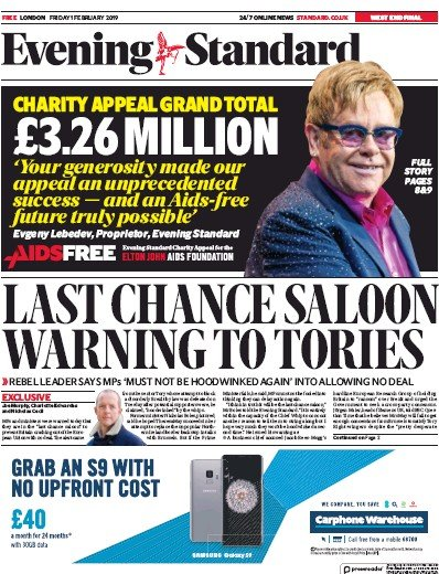 London Evening Standard Newspaper Front Page (UK) for 4 February 2019