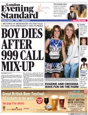 London Evening Standard (UK) Newspaper Front Page for 4 August 2015