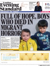London Evening Standard (UK) Newspaper Front Page for 4 September 2015