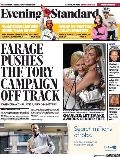 London Evening Standard Newspaper Front Page (UK) for 5 November 2019