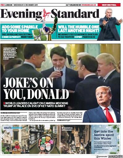 London Evening Standard Newspaper Front Page (UK) for 5 December 2019