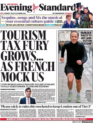 London Evening Standard Newspaper Front Page (UK) for 5 December 2020