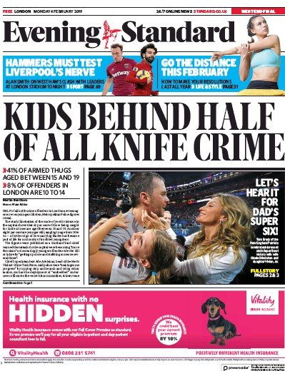 London Evening Standard Newspaper Front Page (UK) for 5 February 2019
