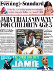 London Evening Standard () Newspaper Front Page for 5 April 2021