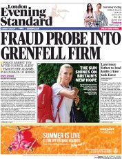 London Evening Standard (UK) Newspaper Front Page for 5 July 2017