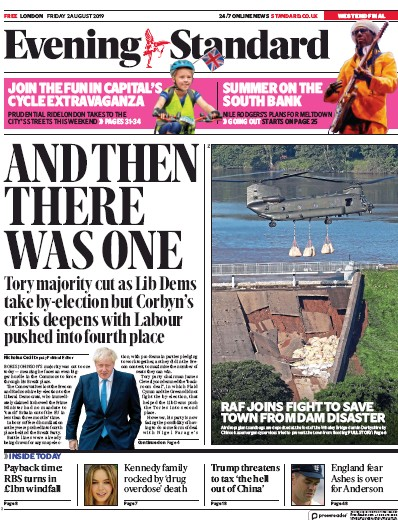 London Evening Standard Newspaper Front Page (UK) for 5 August 2019