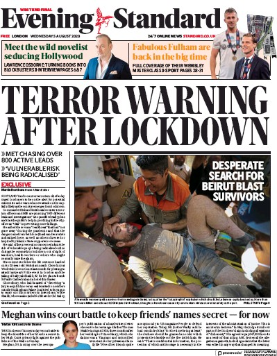 London Evening Standard Newspaper Front Page (UK) for 5 August 2020