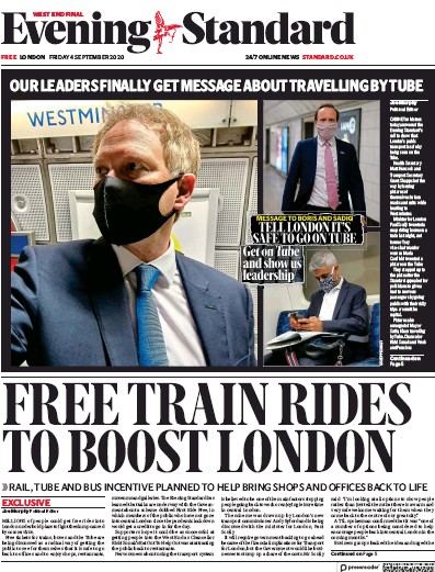 London Evening Standard Newspaper Front Page (UK) for 5 September 2020