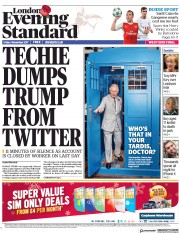 London Evening Standard (UK) Newspaper Front Page for 6 November 2017