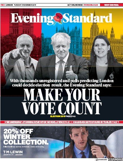 London Evening Standard Newspaper Front Page (UK) for 6 November 2019