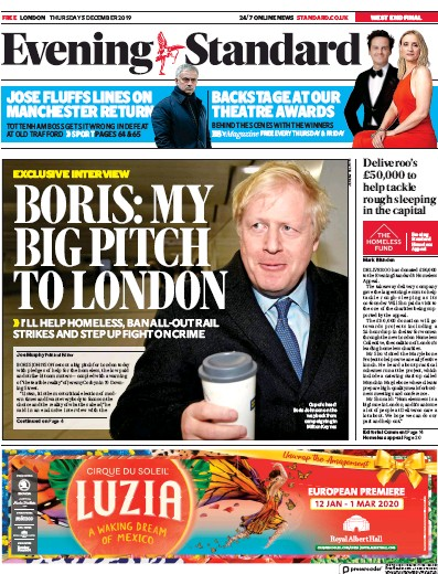 London Evening Standard Newspaper Front Page (UK) for 6 December 2019