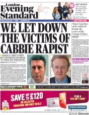 London Evening Standard (UK) Newspaper Front Page for 6 January 2018