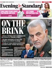 London Evening Standard (UK) Newspaper Front Page for 6 January 2020
