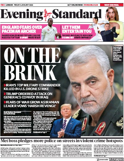 London Evening Standard Newspaper Front Page (UK) for 6 January 2020