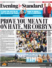 London Evening Standard () Newspaper Front Page for 6 February 2019