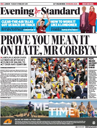 London Evening Standard Newspaper Front Page (UK) for 6 February 2019