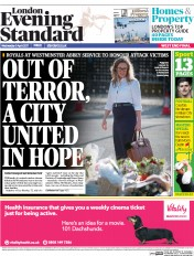 London Evening Standard (UK) Newspaper Front Page for 6 April 2017