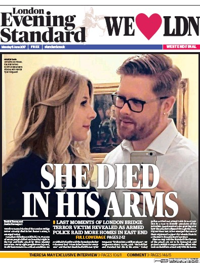 London Evening Standard Newspaper Front Page (UK) for 6 June 2017