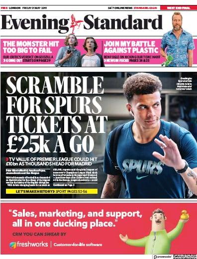 London Evening Standard Newspaper Front Page (UK) for 6 June 2019