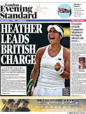 London Evening Standard (UK) Newspaper Front Page for 6 July 2015