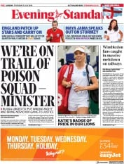 London Evening Standard (UK) Newspaper Front Page for 6 July 2018
