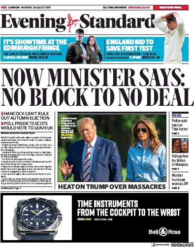 London Evening Standard Newspaper Front Page (UK) for 6 August 2019