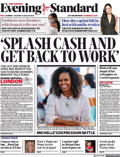 London Evening Standard Newspaper Front Page (UK) for 6 August 2020