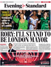 London Evening Standard () Newspaper Front Page for 7 October 2019
