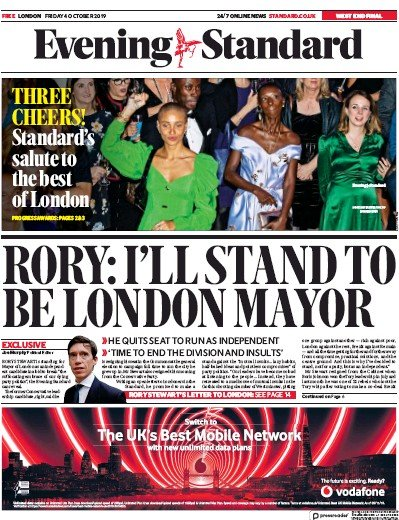 London Evening Standard Newspaper Front Page (UK) for 7 October 2019